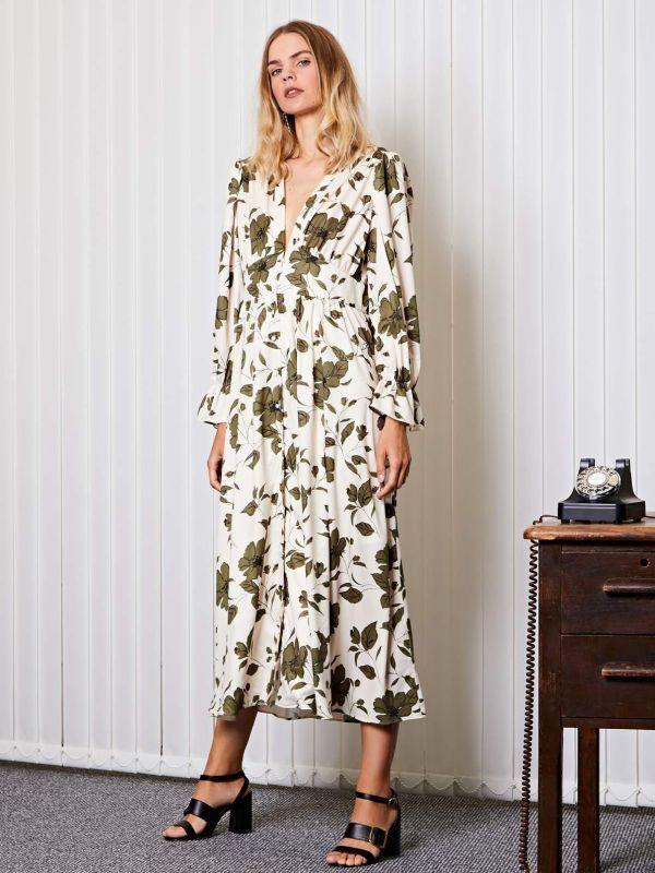 画像1: 【GHOSPELL】After Hours Floral Maxi Dress/フローラルL/Sマキシドレス[Ivory x Green] (1)