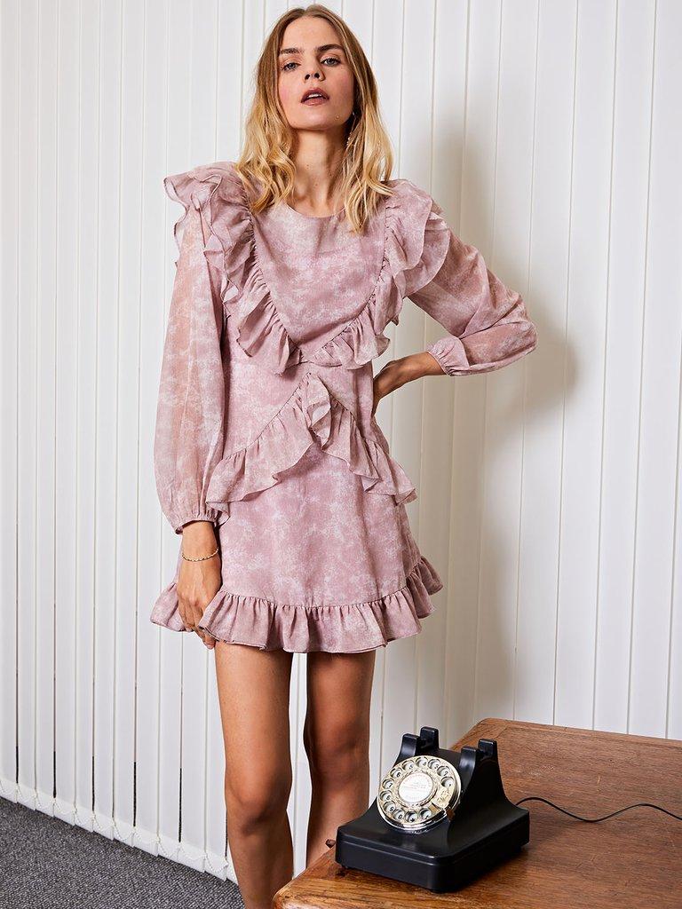 画像1: 【GHOSPELL】HR Tie Dye Mini Ruffle Dress/タイダイラッフルドレス[Rose Pink] (1)