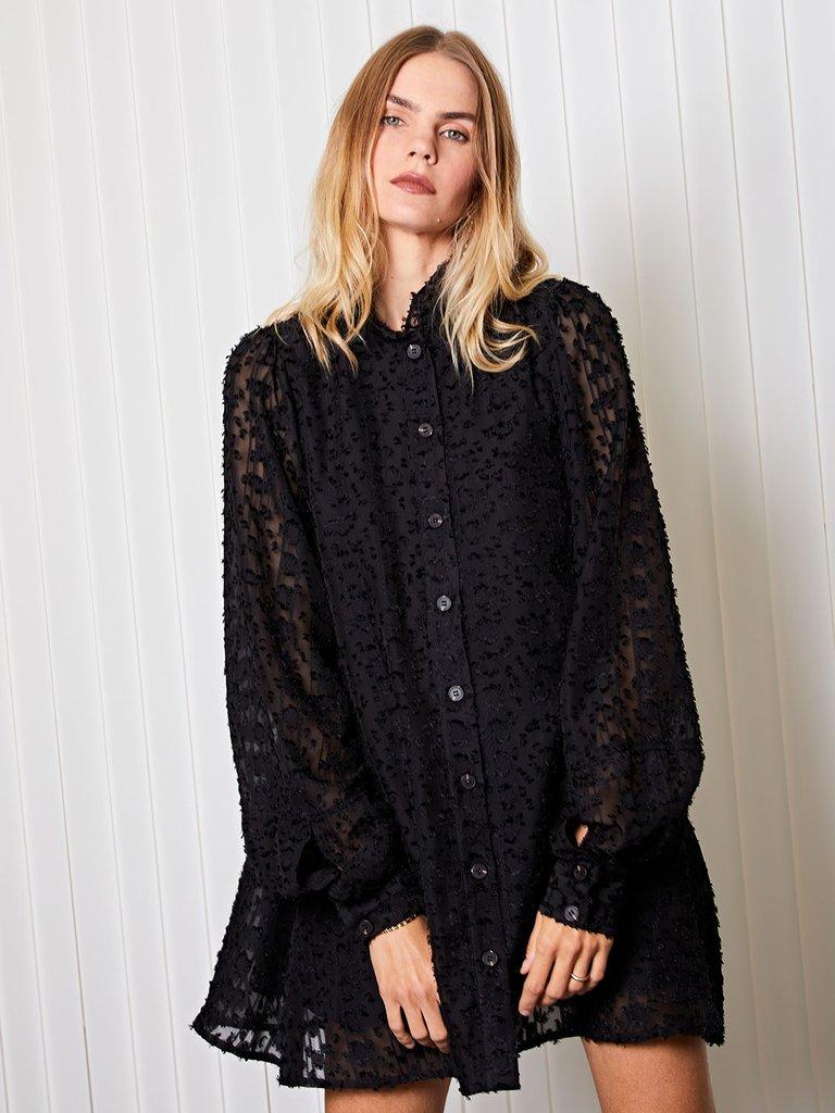 画像1: 【GHOSPELL】Presentation Mini Shirt Dress/ノーカラーシャツミニドレス[Black] (1)