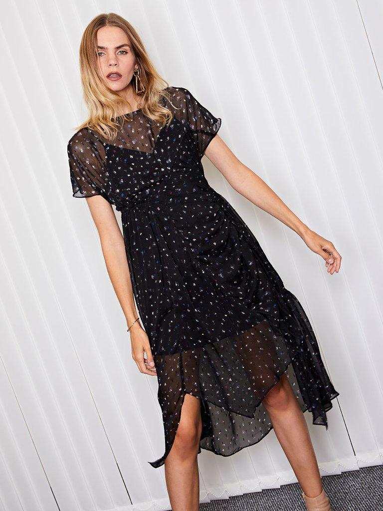 画像1: ★30%OFF★【GHOSPELL】Paper Ditsy Floral Midi Dress/フローラルアシンメトリードレス[Multi] (1)