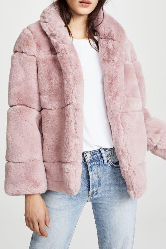 画像1: 【APPARIS】SARAH Faux-Fur Jacket / エコファージャケット [Mauve] (1)