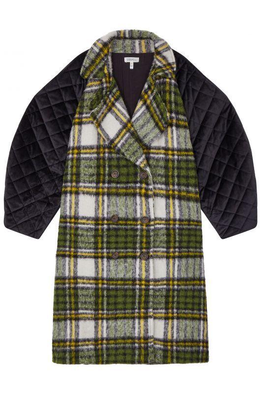 画像1: 【GHOSPELL】Arena Check Overcoat / キルティングスリーブチェックコート[Green] (1)