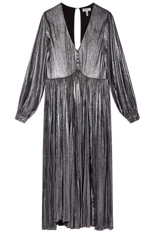 画像1: ★30%OFF★【GHOSPELL】Boulevard Pleated Maxi Dress/ Vネックロングスリーブプリーツドレス[Silver] (1)