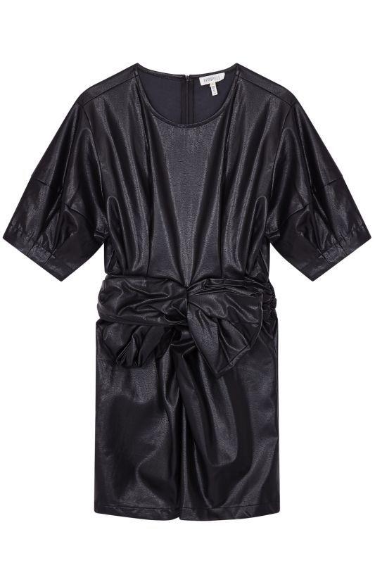 画像1: 【GHOSPELL】Zero Hours Faux Leather Mini Dress/ ビーガンレザーミニワンピース[Black] (1)