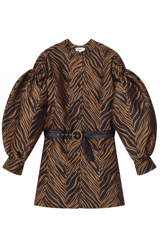 画像1: 【GHOSPELL】Wild Belted Puff Sleeve Mini Dress/ ベルト付パフスリーブゼブラミニドレス[Brown x Black] (1)