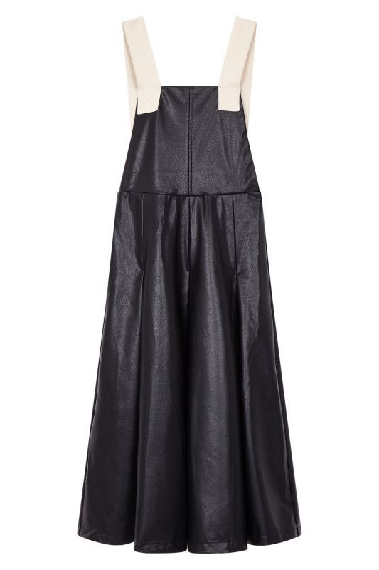 画像1: 【GHOSPELL】Zero Hours Faux Leather Pinafore Dress / ビーガンレザーエプロンワンピース[Black] (1)