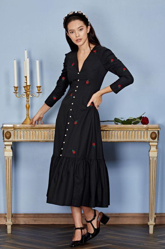 画像1: ★40%OFF★【SISTER JANE】Rose Bud Midi Dress /ローズ刺繍ワンピース[Black] (1)