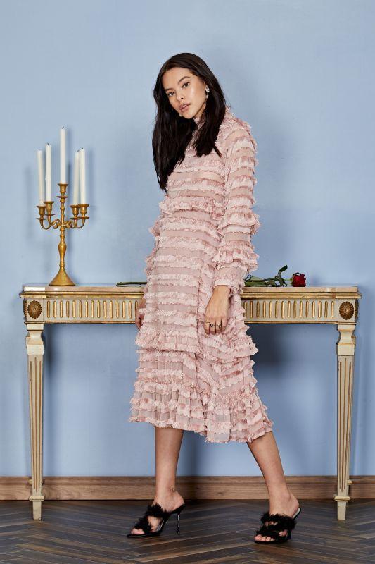 画像1: 【SISTER JANE】Ruler Ruffle Midi Dress /ラッフルミディドレス[Rose Quartz] (1)