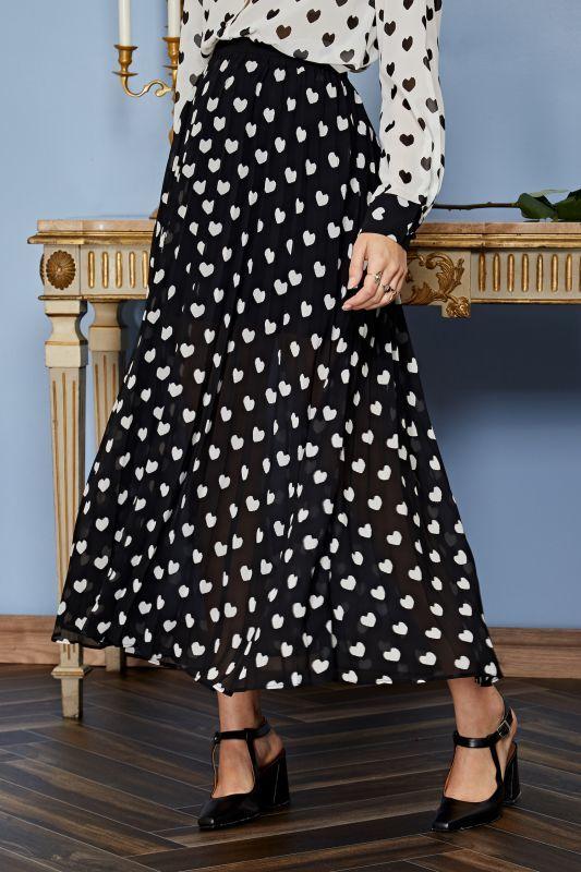画像1: 【Sister Jane】Duchess Pleated Midi Skirt/ミディプリーツスカート[Black x White] (1)