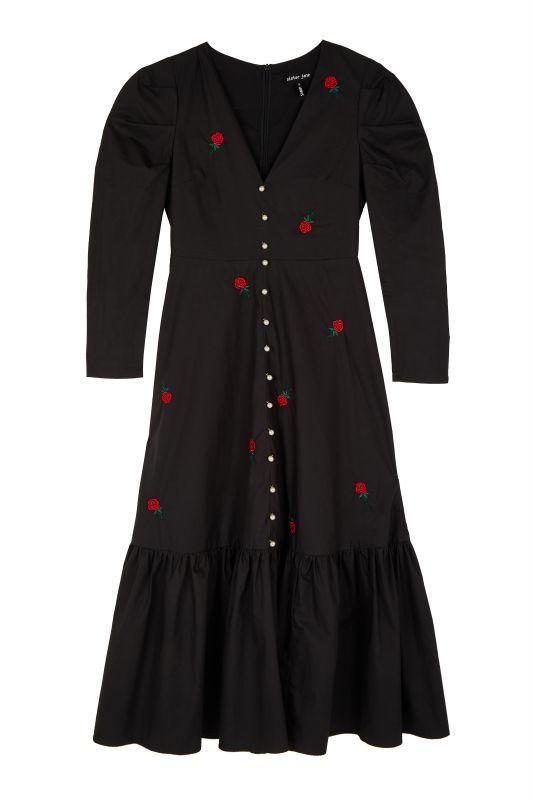 画像1: 【SISTER JANE】Rose Bud Midi Dress /ローズ刺繍ワンピース[Black] (1)