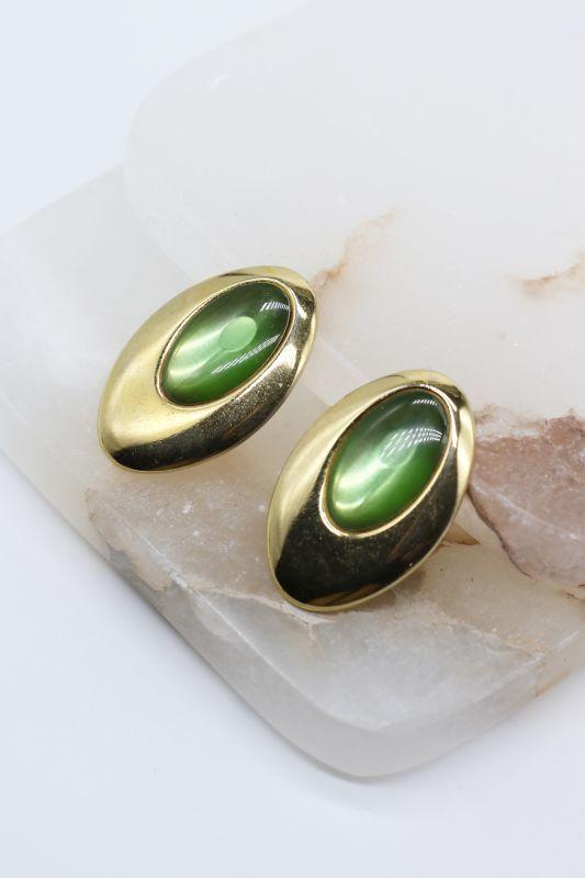 画像1: 70'S VINTAGE OVAL EARRING [Gold x Green] (1)