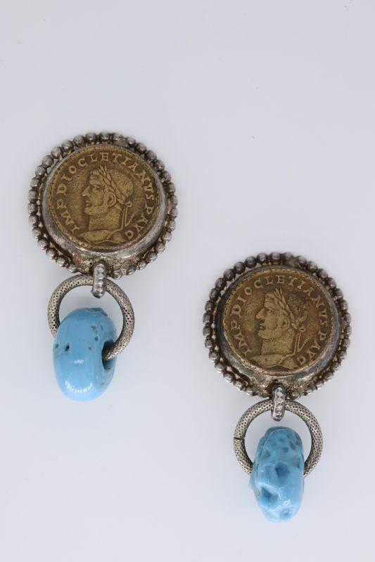 画像1: <80-90'S VINTAGE>【Philippe Ferrandis】COIN CLIP EARRING [Antique Gold/Silver x Blue] (1)
