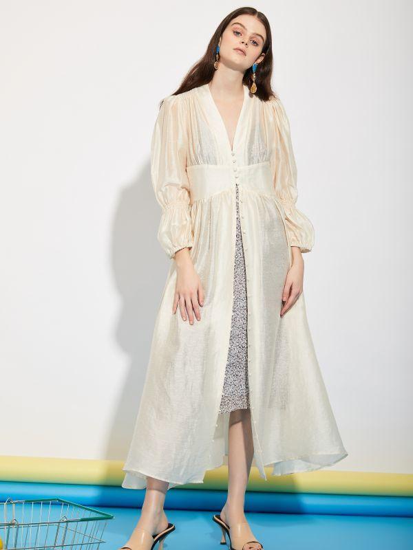 画像1: 【GHOSPELL】Department Sheer Maxi Dress  / シアーマキシドレス [Cream] (1)