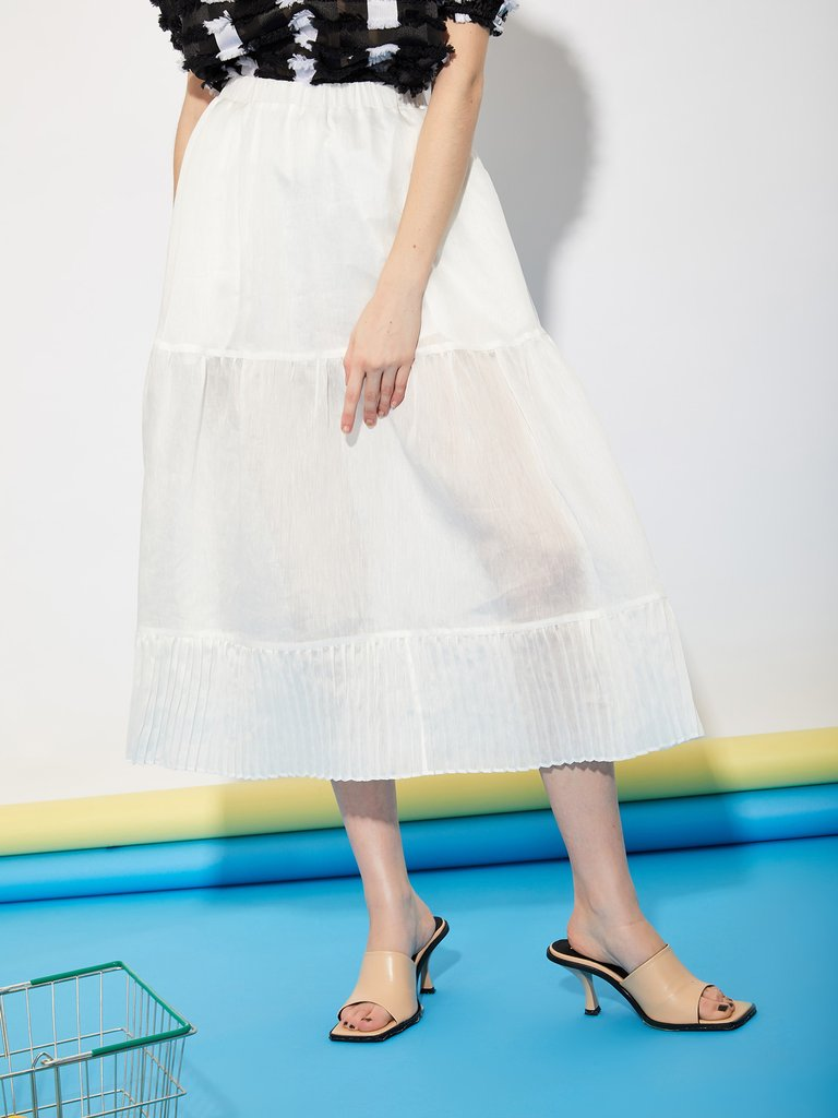 画像1: 【GHOSPELL】Department Sheer Midi Skirt  / シアースカート [Ivory White] (1)