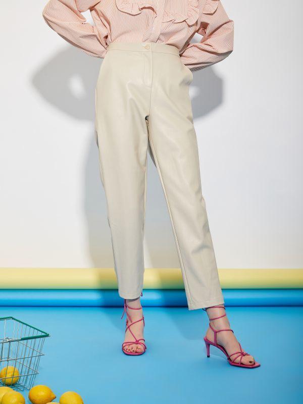 画像1: 【GHOSPELL】Outlet Faux Leather Trousers / フェイクレザートラウザー [Beige] (1)