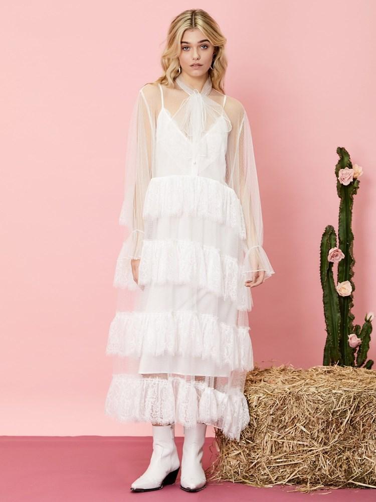 画像1: 【SISTER JANE】Lady Texas Lace Maxi Dress/レイヤードシースルーレースワンピース[White] (1)