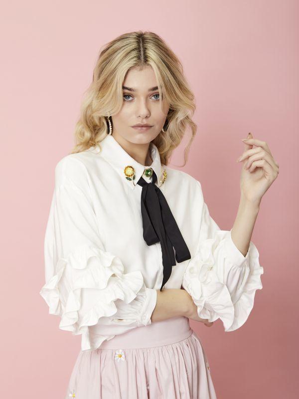 画像1: 【SISTER JANE】Sunflower Melody Ruffle Sleeve Shirt /ラッフルフリーブブラウス[White] (1)
