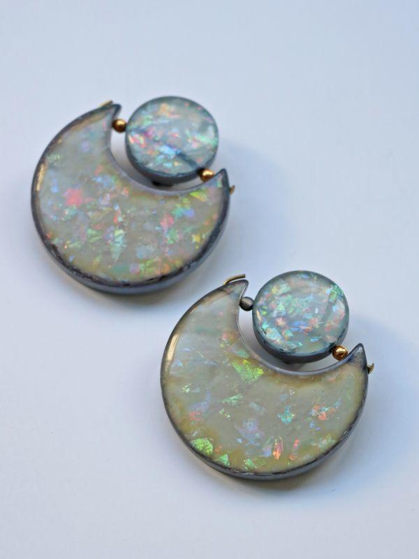 画像1: <70'S VINTAGE>Confetti Acrylic Circle Earing [L.Blue] (1)