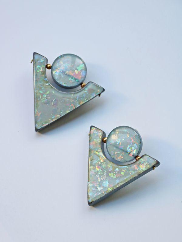 画像1: <70'S VINTAGE>Confetti Acrylic Triangle Earing [L.Blue] (1)