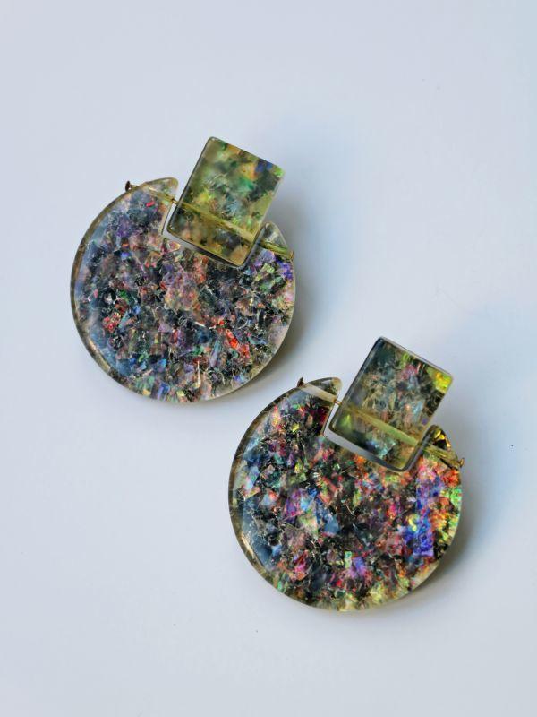画像1: <70'S VINTAGE>Confetti Acrylic Circle Earing [Multi] (1)