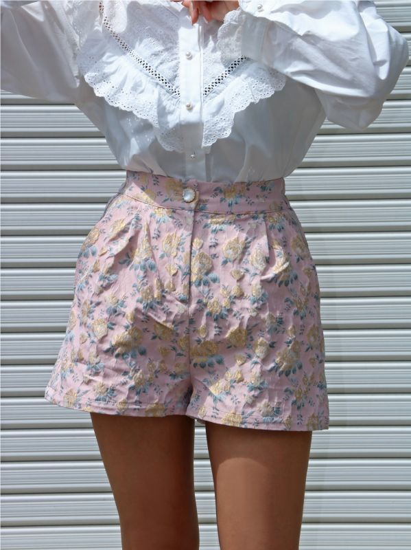 画像1: ★40%OFF★【SISTER JANE】Rose Garden High Waisted Shorts/ジャガードハイウェストショートパンツ[Rose Quartz] (1)