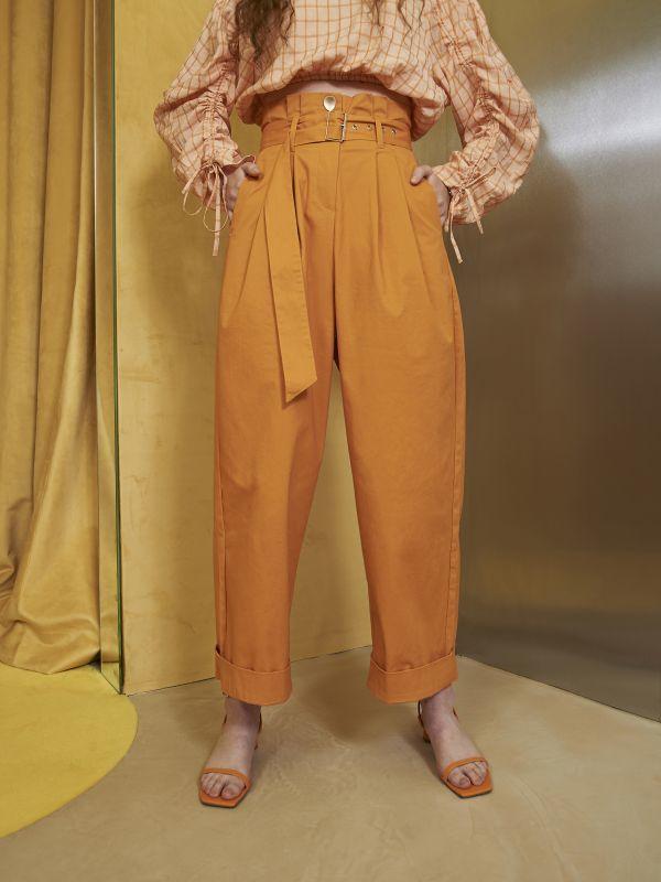 画像1: ★40%OFF★【GHOSPELL】Hudson Paper Bag Waist Trousers / ハイウェストトラウザーパンツ [Tangerine] (1)