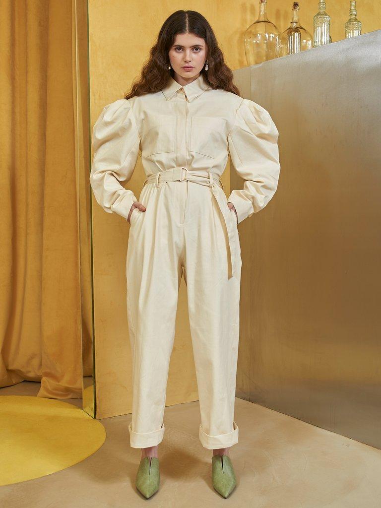 画像1: 【GHOSPELL】White Horse Jumpsuit with Belt / ボリュームスリーブジャンプスーツ [Cream] (1)