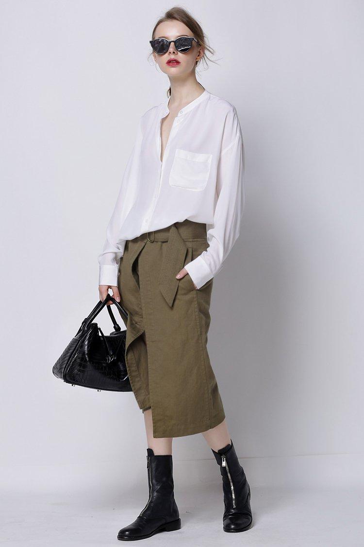 画像1: ★60%OFF★【CAARA】Lara Front Slit Skirt / レイヤードオリーブスカート [Olive Green] (1)