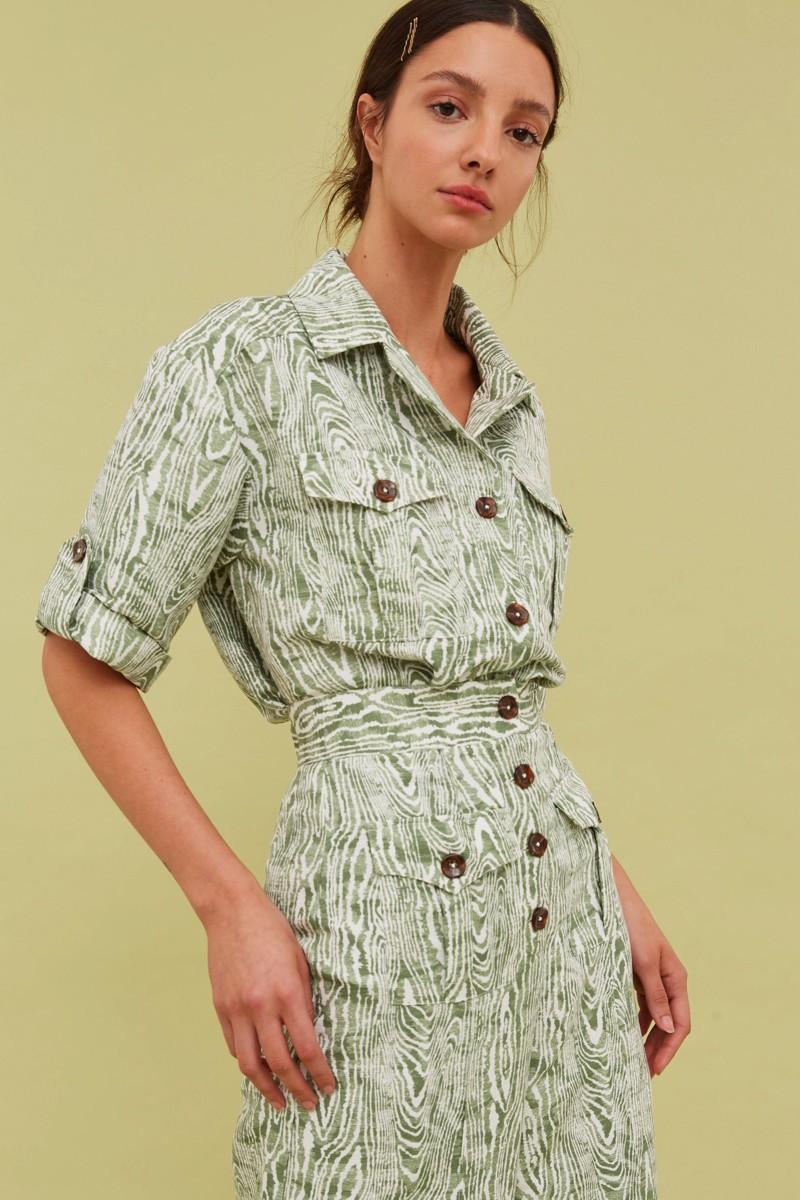 画像1: 【C/MEO COLLECTIVE 】ENERGISED SHIRT/ウッドプリントシャツ [Ivy Woodgrain] (1)