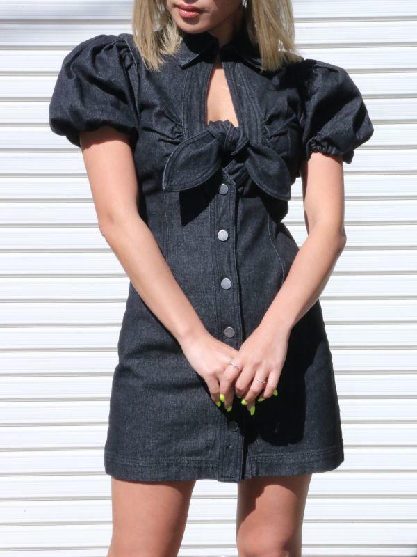 画像1: 【C/MEO COLLECTIVE 】COMPARISON DRESS/バルーンスリーブデニムミニドレス [BLACK] (1)