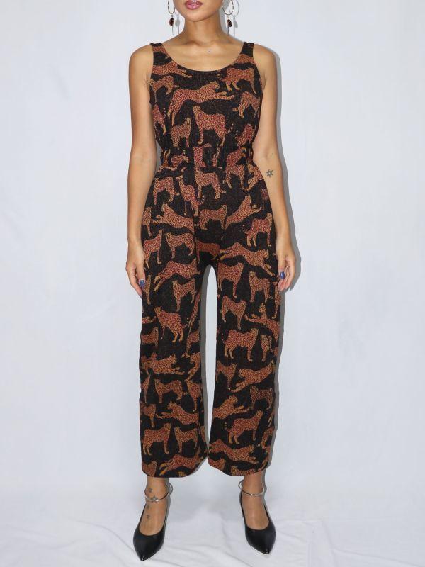 画像1: 【Corey Lynn Calter】Daniella レオパードジャガードニットジャンプスーツ [Black/Brown] (1)
