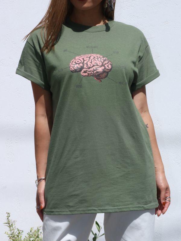 "画像1: 【Daisy Street】""Brain"" Graphic Boyfriend Tee [Khaki] (1)"