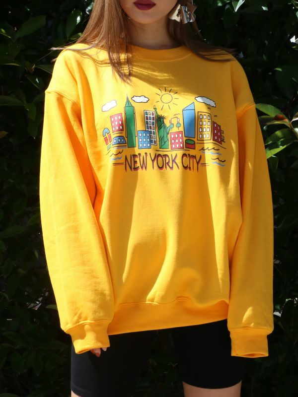 画像1: ★50%OFF★【DAISY STREET】New York City Graphic Sweat [Yellow] (1)