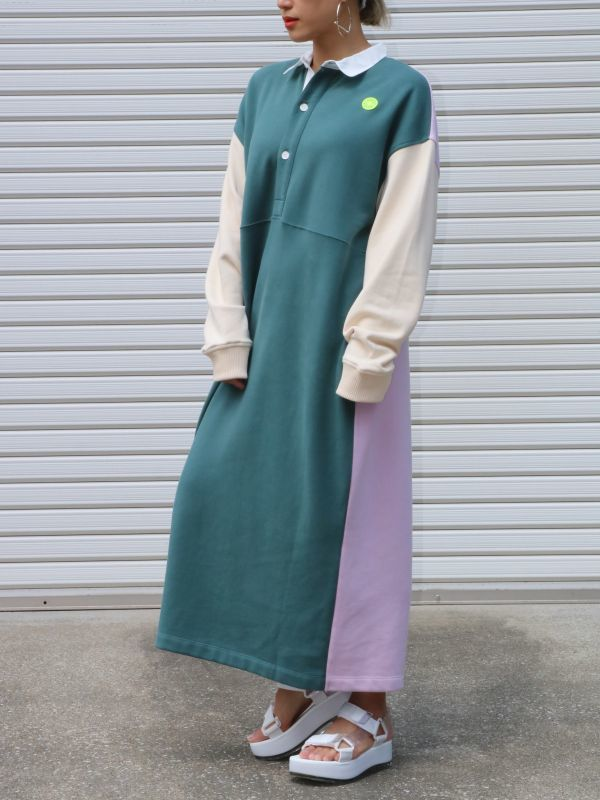 画像1: 【DAMSON MADDER】Rugby Sweatshirt Midi Dress/ラグビースウェットドレス[Multi] (1)