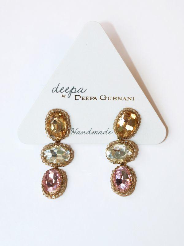 画像1: ★30%OFF★【DEEPA GURNANI】Hadlee Earring[Gold/Clear/Pink] (1)