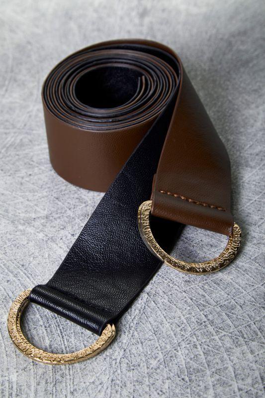 画像1: 【GHOSPELL】Double Dance D-Ring Belts / Dリング付きベルト2本セット[Brown/Black] (1)