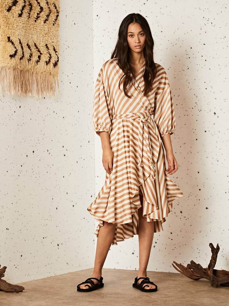 画像1: 【GHOSPELL】GRAIN MIDI WRAP DRESS/ミディ丈ラップドレス[Gold x White] (1)