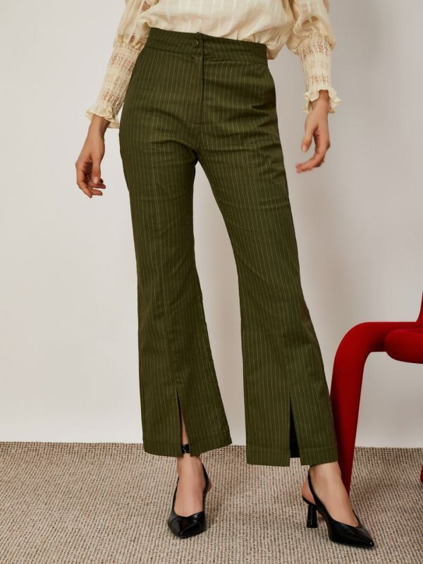 画像1: ★30%OFF★【GHOSPELL】Linear Lines Trousers with Split /ピンストライプ ミディフレアー トラウザー [Olive Green] (1)