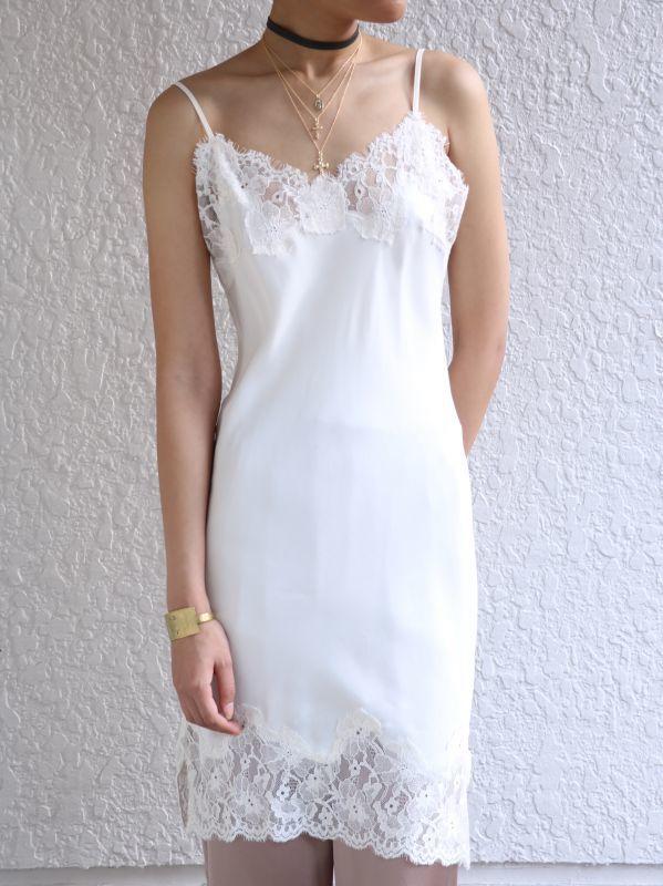 画像1: ★50%OFF★【GOLD HAWK】Marilyn Lace Dress /レースシルクドレス[Dove White] (1)