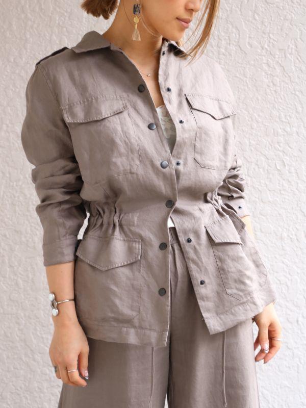 画像1: ★50%OFF★【Gold Hawk / ゴールド・ホーク】Linen Army Jacket /リネンアーミージャケット[Warm Grey] (1)