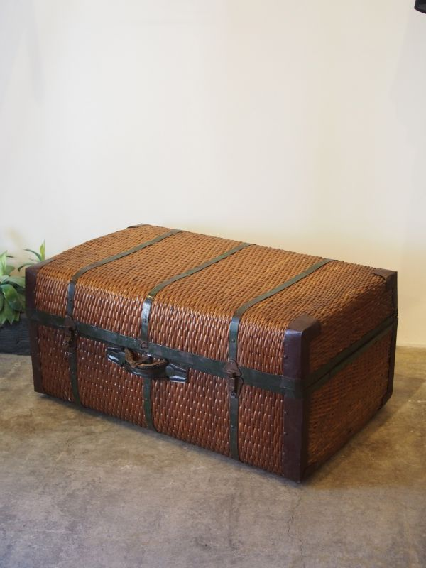 画像1: ★50%OFF★Vintage Rattan Trunk Case / ラタントランクケース[Brown x Green] (1)