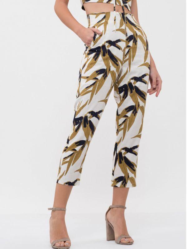 画像1: ★50%OFF★【J.O.A.】Leaf Print Woven Pants [Ivory] (1)