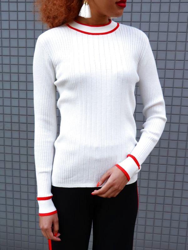 画像1: ★30%OFF★【JUST FEMALE / ジャストフィーメール】Ebba Knit Top / ロングスリーブサマーニットトップ[White x Red] (1)