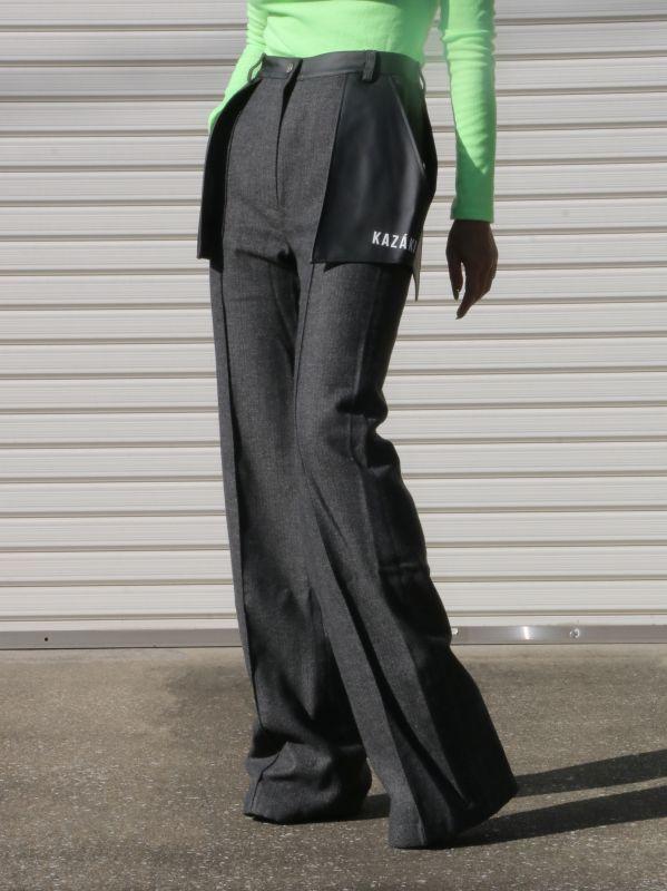画像1: ★40%OFF★【KAZAKI】WOOL PANTS WITH LEATHER POCKETS/レザーポケット付きウールパンツ [Grey] (1)