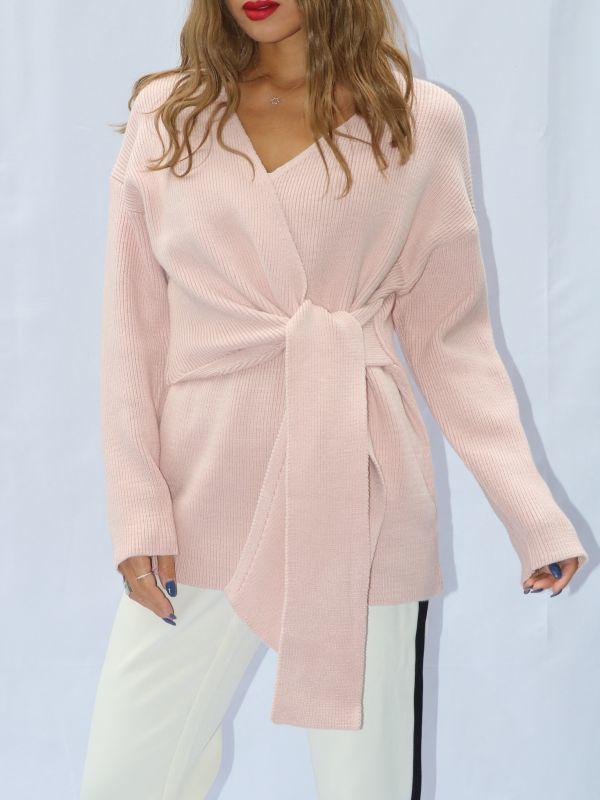画像1: 【LITTLE LIES】Wrap Knit /ラップデザインニットトップ [Blush Pink] (1)