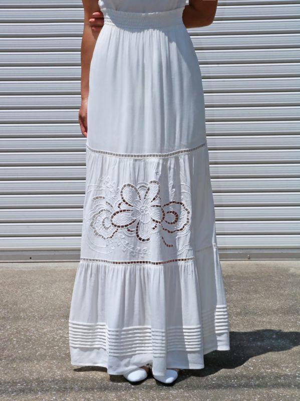 画像1: 【LOST+WANDER】SINCERELY MAXI SKIRT / レースデザインマキシ丈スカート [Ivory] (1)