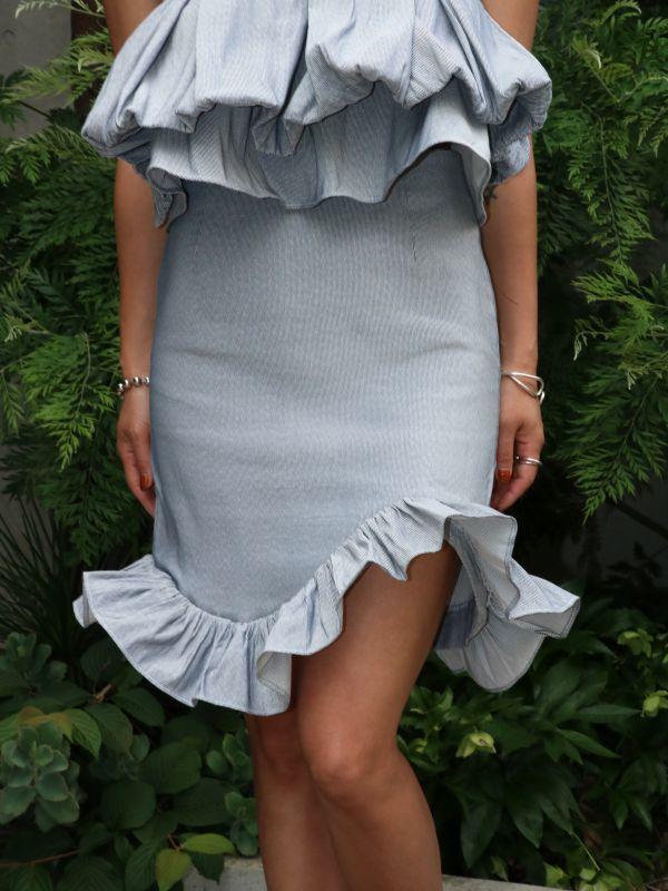 画像1: 【Methodology】Palong Skirts / フリルミニスカート[Grey] (1)