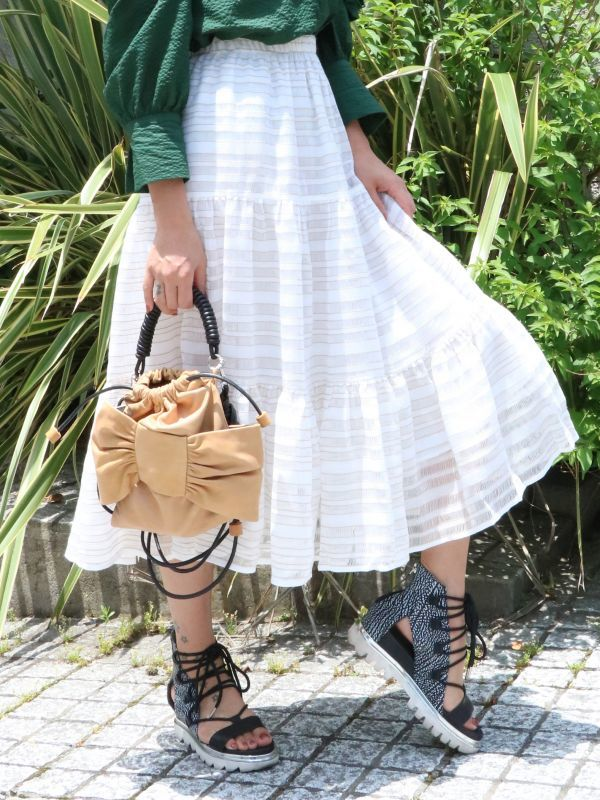 画像1: 【Methodology】Saging Skirts / リネンレースミディ丈スカート[White] (1)