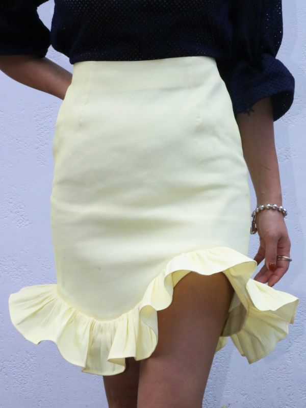 画像1: 【Methodology】Palong Skirts / フリルミニスカート[Yellow] (1)