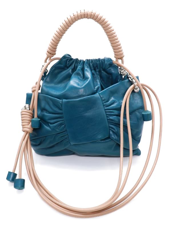 画像1: ★30%OFF★【Methodology】Lima Pea Bag / BOWレザーハンドバッグ[Teal] (1)